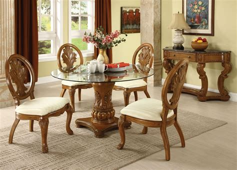 Wood And Glass Dining Table Sets Coronado Oak Finish Solid Wood Pedestal Glass Top Dining