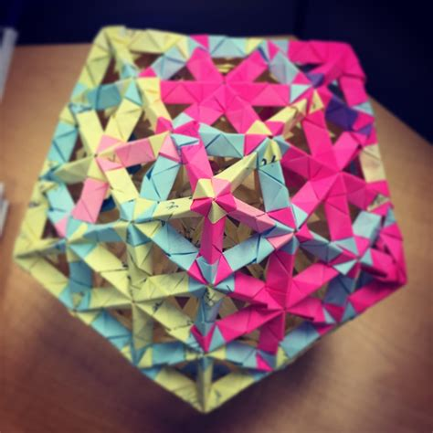 10 note origami origami icosahedron made from 270 used sticky notes
