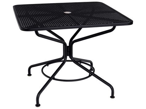 Woodard Mesh Wrought Iron 36 Square Table With Umbrella Woodard Patio Table