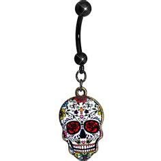 faith like this skull skull black crystals and dangle belly rings on