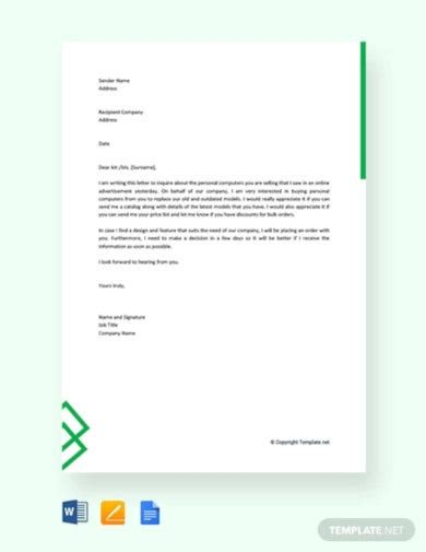 inquiry letter templates google docs word pages