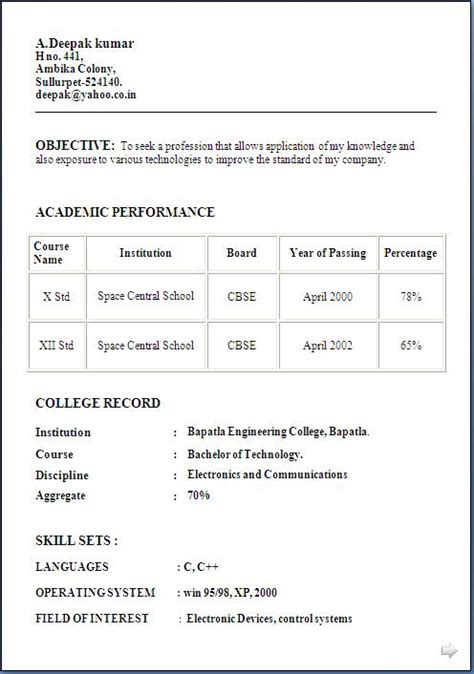 resume format for fresher 12th pass resume format for freshers 12th pass