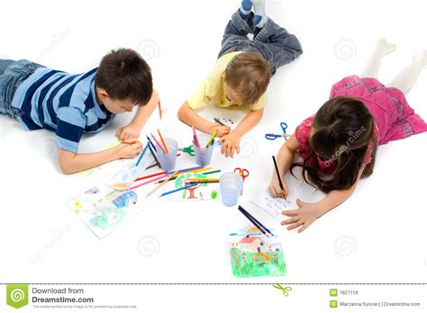 child color three children drawing on floor stock image image 1827119