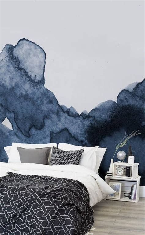 navy blue smoke effect watercolour accent wall