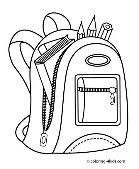 coloring page school backpack for school coloring page for kids printable free