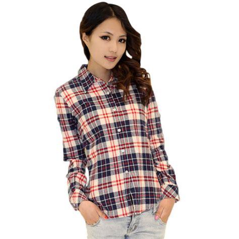 Plaid Blouse plus plaid check lapel shirt sleeve flannel button blouse tops ebay