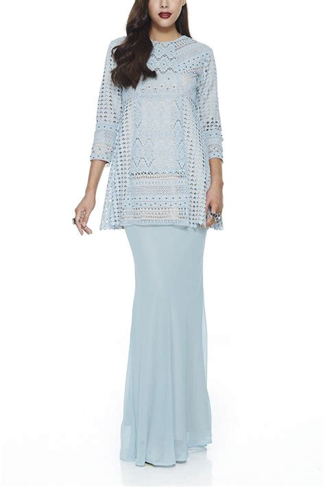 design baju lace 3d turquoise halba modern baju kurung with 3 different lace