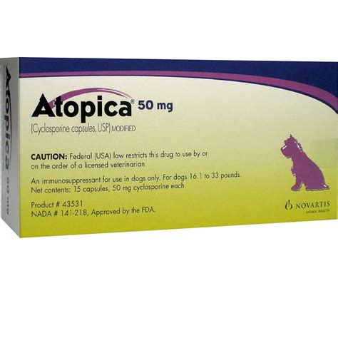 atopica for dogs atopica for dogs 16 1 33lbs 50mg 15 caps