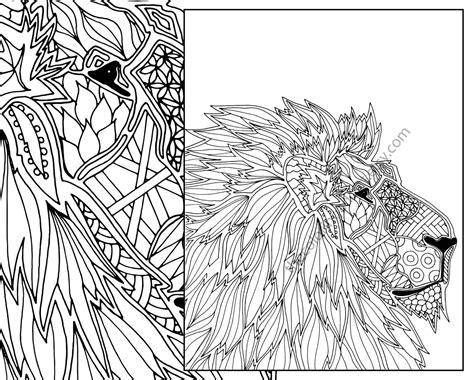 lion coloring page for adults animal coloring page adult coloring page digital lion