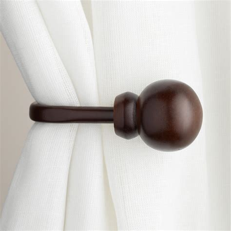 curtain poles and holdbacks mahogany wooden ball holdbacks set of 2 world market