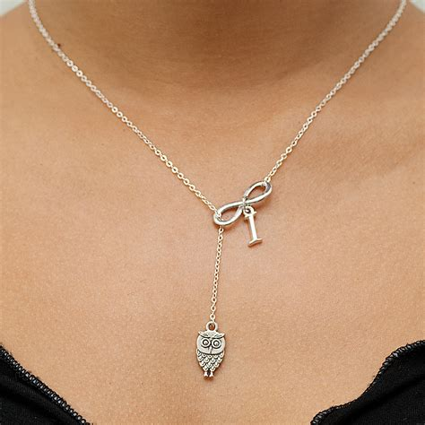Infinite Necklace lariat owl infinity necklace with optional initial