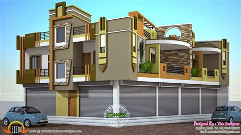 house shopping 2 house plans with shops on ground floor kerala home design and floor plans