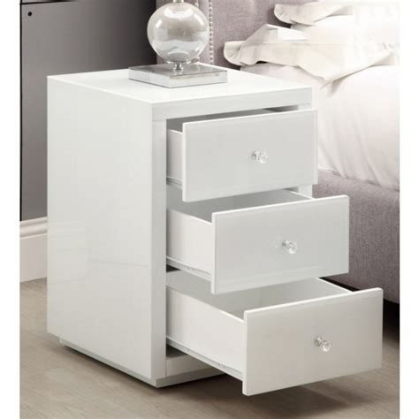 vegas white glass mirrored bedside tables dresser