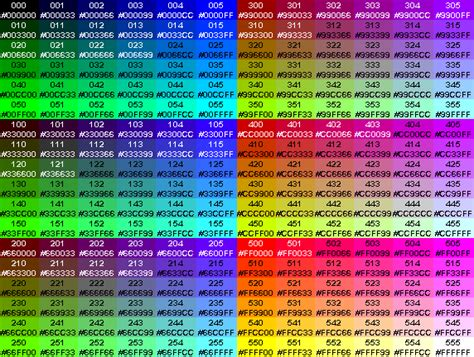 list of 216 hexadecimal color codes technodoze