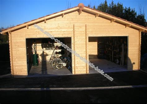 garage en bois 2 voitures stmb construction chalets bois