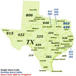 Tx Area Codes Find Area Codes By Map