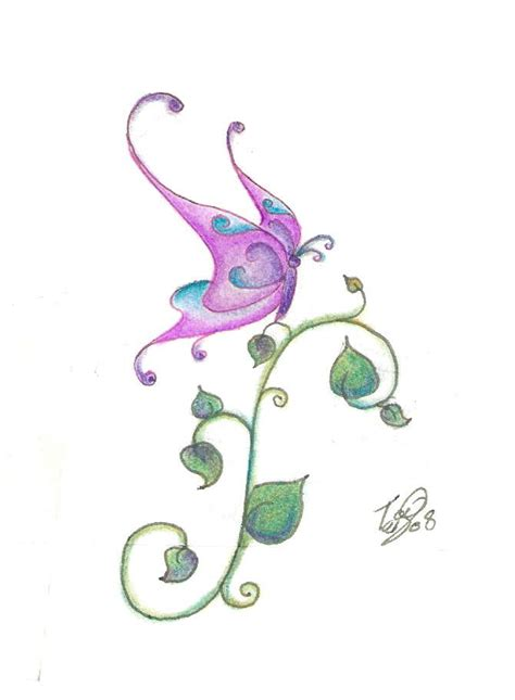 butterfly and vines tattoo designs butterfly on vine by nonnyarie on deviantart