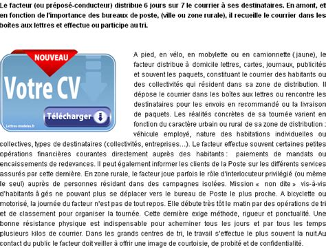 Exemple De Lettre De Motivation Facteur Mod 232 Le Et Exemple De Lettre De Motivation Facteur