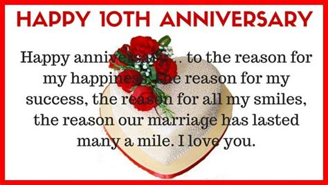 Wedding Anniversary Quotes For From Husband by 10th Wedding Anniversary Quotes For Husband From