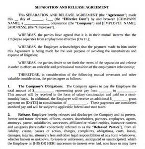 Employment Separation Agreement Template by Separation Agreement Template 8 Free Documents