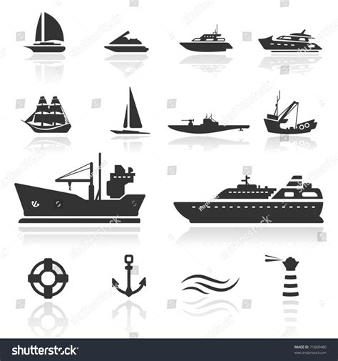 pontoon boat icon icon set boats stock vector 71860480 shutterstock