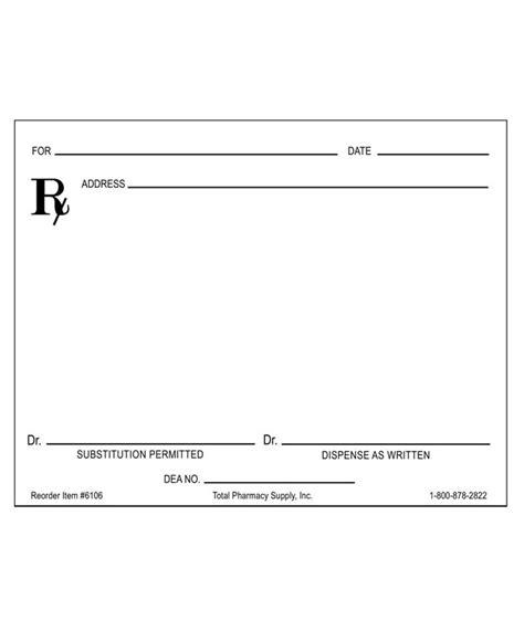 Prescription Blank Horizontal Layout Right Quot D A W Quot Prescription Pad Template