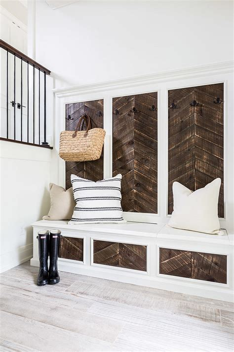 reclaimed wood mudroom bench southern home with neutral interiors home bunch interior