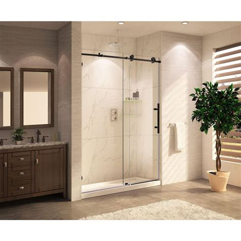 Bronze Shower Doors Frameless Republic Trident Mocha Premium 60 In X 76 In Frameless Sliding Shower Door Clear Glass In