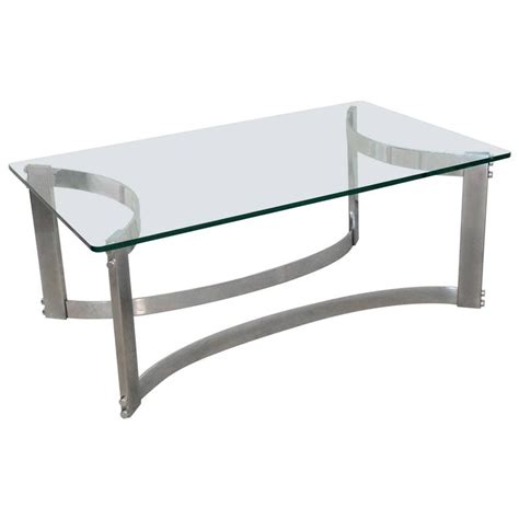 Rectangular Glass Coffee Table Rectangular Coffee Table With Glass Top And Curved Chrome Base At 1stdibs