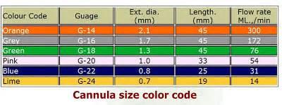 iv colors nursing skills guide iv cannula