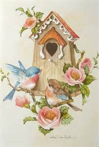 carolyn shores wright blue birds house pink flower blank note greeting card ebay birds