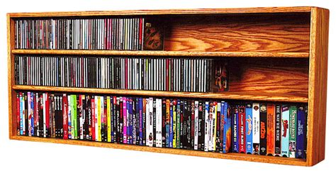 Dvd Cd Shelf by Solid Oak Wall Or Shelf Mount For Cd And Dvd Vhs Book Cabinet Modern Media Racks And