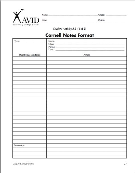 printable cornell notes template 7 best images of cornell notes template printable