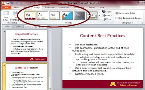 how to use a powerpoint template use a pre defined powerpoint slide template accessibility