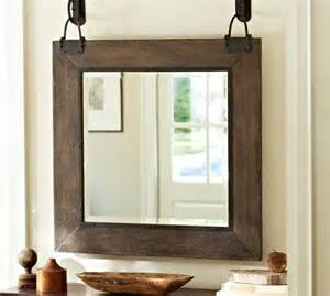 industrial bathroom mirrors industrial hanging wood frame mirror