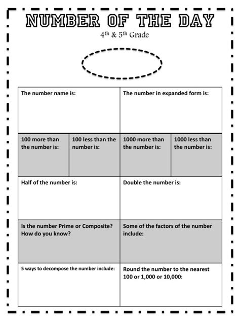 number of the day worksheet 4th 5th grade number of the day worksheet 4th grade math