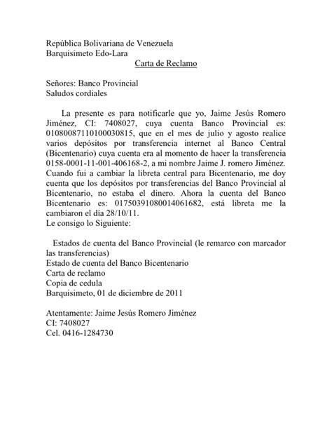 carta formal de reclamacion carta de reclamo