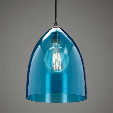 coloured glass pendant lights large pendant sky blue andy thornton