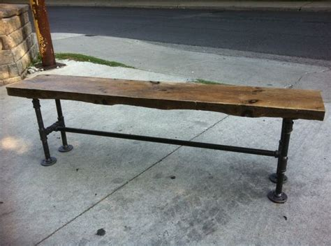 plumbing pipe bench reclaimed wood bench with pipe legs by leventhalvermaat on