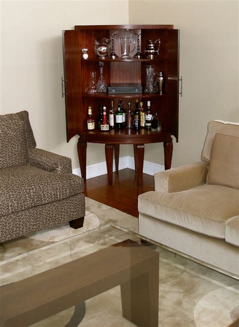 living room bar sets inside the curved mahogany corner cabinet bar contemporary living room toronto by