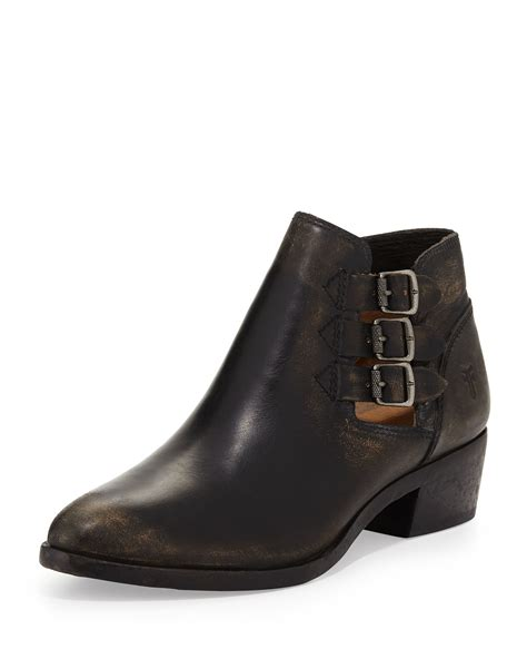 buckle boots frye three buckle ankle boot in black lyst