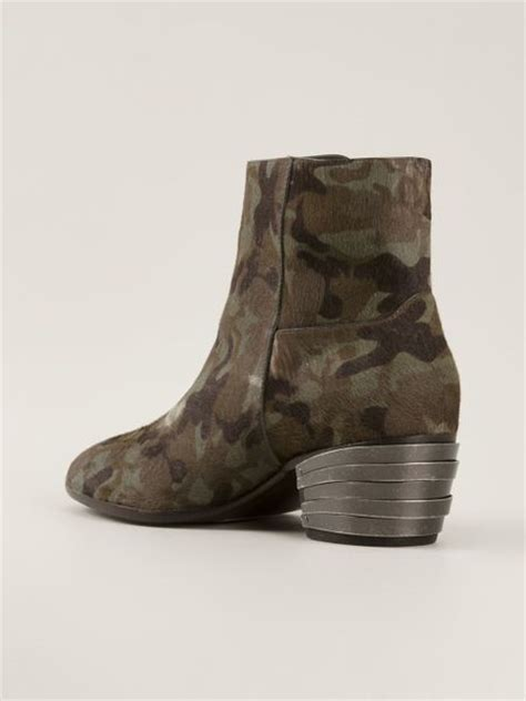 giuseppe zanotti camouflage ankle boot in green for lyst