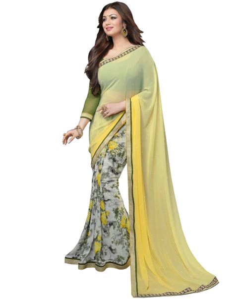 Cver Celana Kode 76 Light buy light yellow printed georgette saree with blouse