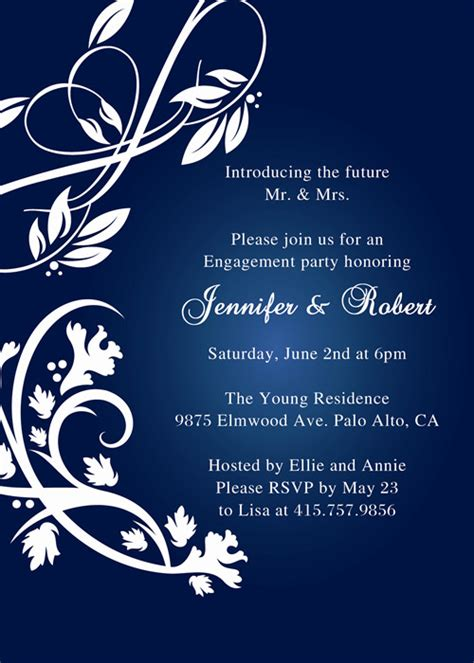 Affordable Rustic Navy Blue Engagement Party Inviations Ewei001 As Low As 0 94 Friends Themed Invitation Template