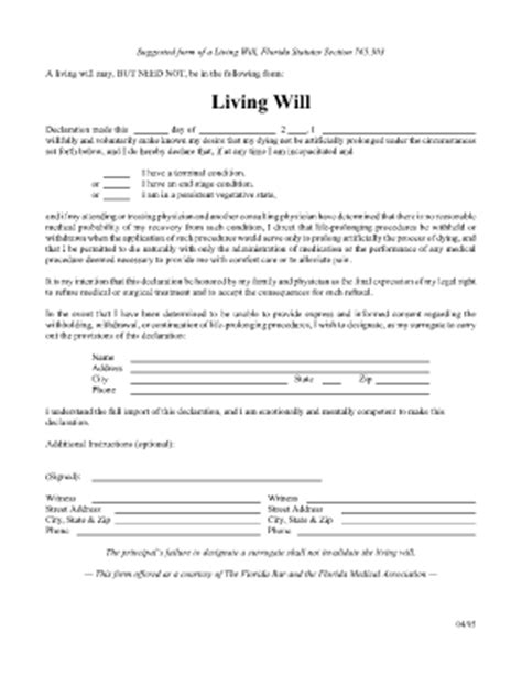 bill of sale form florida living will form templates