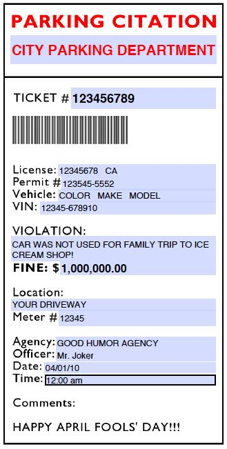 search results for free fake parking ticket printable