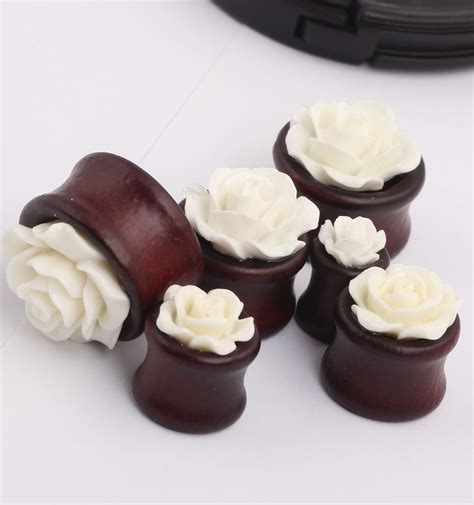White Wood Ear Detox by 2pcs Ear Expansion Brown Wood White Flower Gauges Ear