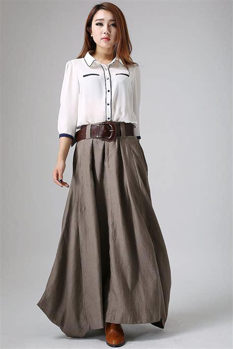 linen skirt maxi skirt for brown skirt pleated