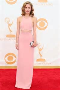 roter teppich kleider carpet dress emmy awards halter pink