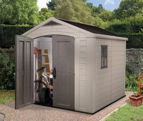 keter factor 8 x 8 plastic garden shed garage next day delivery 10 yr guarantee ebay